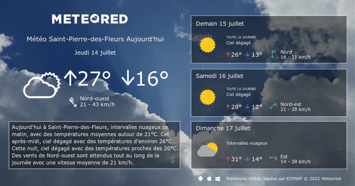 météo saint-pierre-des-fleurs 14 jours - tameteo